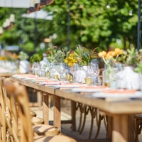Table set-up in Copia Garden
