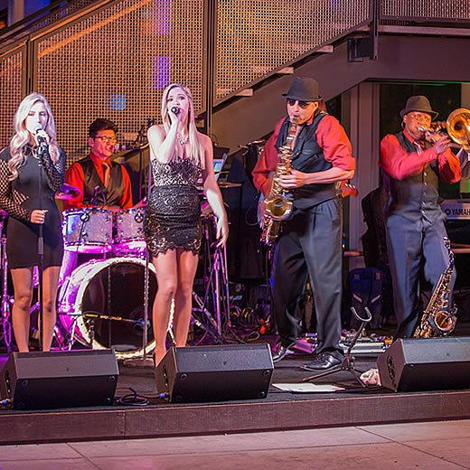 Band performing at a corporate event at the CIA at Copia in Napa, CA.