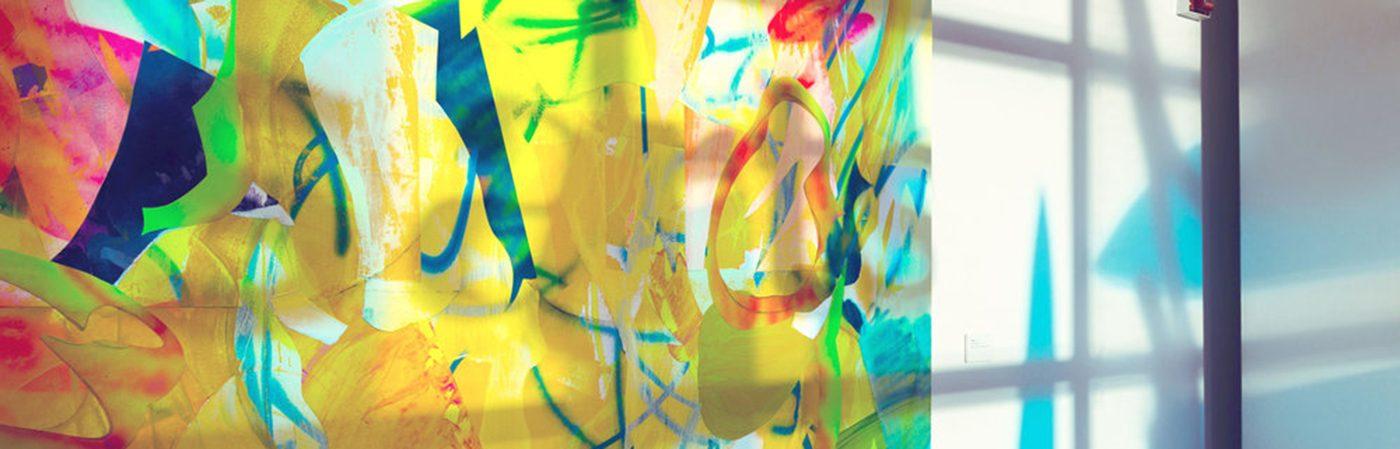 Window art installation by artist Nicole Mueller.