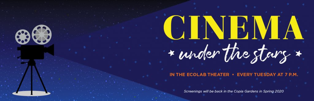 Banner for Cinema Under the Stars in the Ecolab Theater every Tuesday at 7pm at The CIA at Copia in Napa, CA.