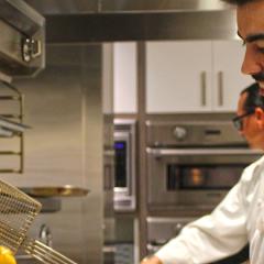 Rodrigo Vazquez in the kitchen, guest chef for the Estampa Pop-Up restaurant at The CIA at Copia in downtown Napa, CA.